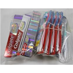 BAG OF ASSORTED TOOTHBRUSHES AND TOOTHPASTES.