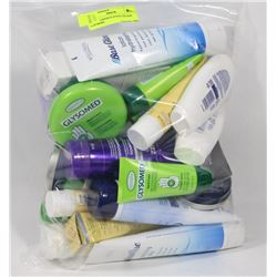 BAG OF ASSORTED HAND CREAMS AND MORE.