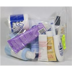 BAG OF ASSORTED BEAUTY PRODUCTS INCL CONDITIONER