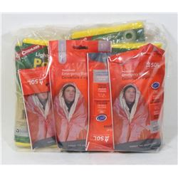 BAG OF EMERGENCY BLANKETS AND MORE.