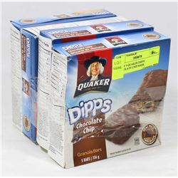 LOT OF 4 QUAKER DIPPS CHOCOLATE CHIP BARS.