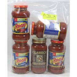 LOT OF 5 ASSORTED PASTA SAUCES.