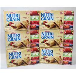 6 BOXES OF  NUTRIGRAIN BARS. 32 BARS PER BOX.
