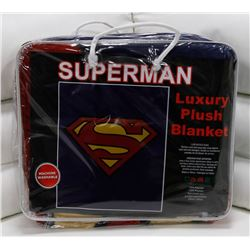 "NEW! ""SUPERMAN"" LUXURY PLUSH BLANKET (QUEEN)"