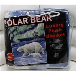 "NEW! ""POLAR BEAR"" LUXURY PLUSH BLANKET (QUEEN)"