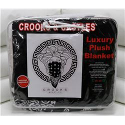 "NEW! ""CROOKS & CASTLES"" LUXURY PLUSH BLANKET-QUEEN"