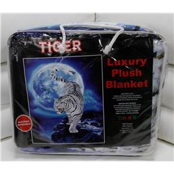 "NEW! ""TIGER"" LUXURY PLUSH BLANKET (QUEEN)"