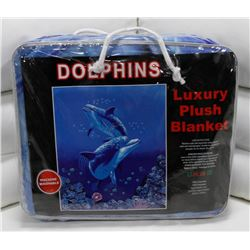 "NEW! ""DOLPHINS"" LUXURY PLUSH BLANKET (QUEEN)"