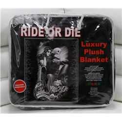 "NEW! ""RIDE OR DIE"" LUXURY PLUSH BLANKET (QUEEN)"