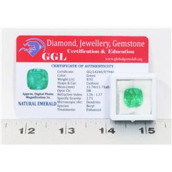 #1-NATURAL GREEN EMERALD GEMSTONE 8.92CT