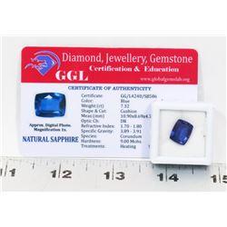 #37-NATURAL BLUE SAPPHIRE GEMSTONE  7.32CT