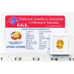 #36-NATURAL YELLOW SAPPHIRE GEMSTONE  13.67CT