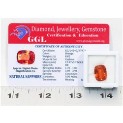 #6- NATURAL ORANGE SAPPHIRE GEMSTONE  8.82CT