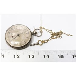 VINTAGE SILVER PLATE KEY WIND POCKET WATCH