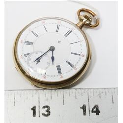VINTAGE GOLD PLATED RAILROAD POCKET WATCH