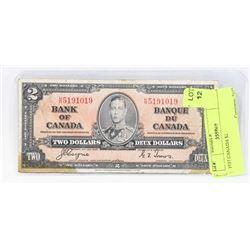 1937 CANADA $2 BANK NOTE