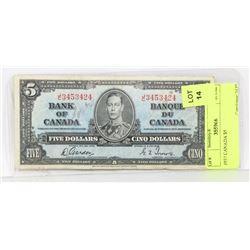 1937 CANADA $5 BANK NOTE
