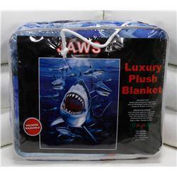 "NEW! ""JAWS"" LUXURY PLUSH BLANKET (QUEEN)"