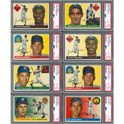 1955 Topps PSA Graded Hall of Famer Collection of (8) with Koufax RC and TWO Jackie Robinson's