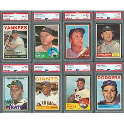1960s Topps PSA HIGH GRADE Hall of Famer Lot with Mantle. Koufax and Clemente (8)