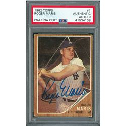1962 Topps #1 Roger Maris Signed Card - PSA/DNA MINT 9