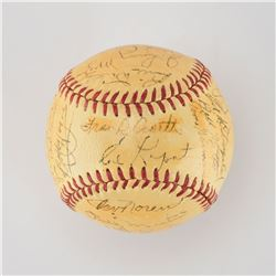 1952 New York Yankees World Series Champions Team Signed Baseball with Mantle and Stengel