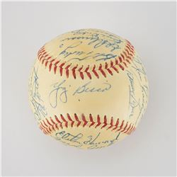1955 New York Yankees American League Champions Team Signed Baseball with Mantle, Stengel and Dickey
