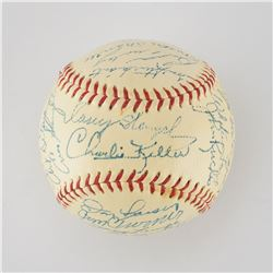 1957 New York Yankees American League Champions Team Signed Baseball with Mantle