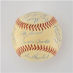 1959 New York Yankees Team Signed Baseball with Mantle and Berra