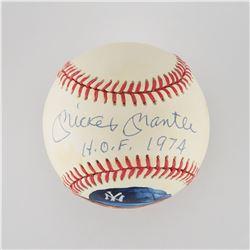 "Mickey Mantle ""HOF 1974"" Single Signed Hand-painted Baseball - PSA/DNA MINT 9"