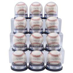 One Dozen Mickey Mantle BVG Graded and Encapsulated Single Signed Baseballs