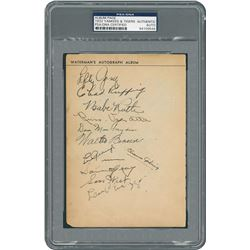 1932 New York Yankees and Detroit Tigers Signed Album Page with Ruth and Gehrig - PSA/DNA