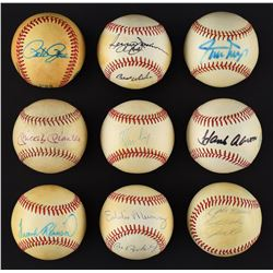 Single Signed Baseball Collection (35) with Mickey Mantle and (2) Willie Mays - Many Deceased