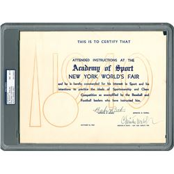 Babe Ruth 1940 New York World's Fair Academy of Sport Signed Certificate - PSA/DNA NM-MT 8