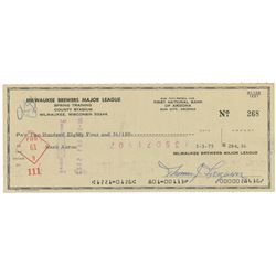 Hank Aaron 1975 Signed Milwaukee Brewers Check