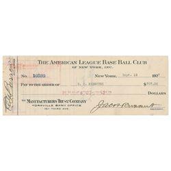 Benny Bengough 1927 Signed Payroll Check