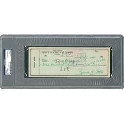 Ty Cobb 1953 Signed Personal Check - PSA/DNA