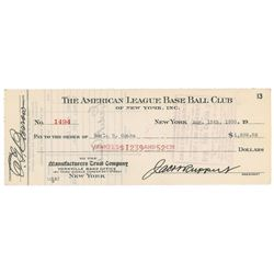 Earle Combs 1930 Signed Payroll Check