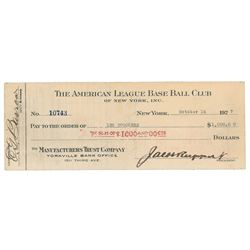 Leo Durocher 1927 Signed Payroll Check