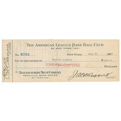 Mike Gazella 1927 Signed Payroll Check