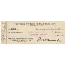 Waite Hoyt 1927 Signed Payroll Check