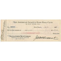 Mark Koenig 1927 Signed Payroll Check