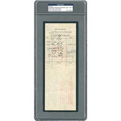 Lou Gehrig 1930 Signed Payroll Check - PSA/DNA NM-MT 8