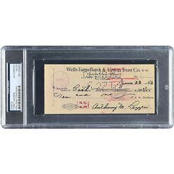 Tony Lazzeri 1942 Signed Bank Check