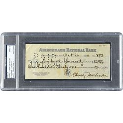 Christy Mathewson 1924 Signed Bank Check, Made Out to His Alma Mater, Bucknell University - PSA/DNA