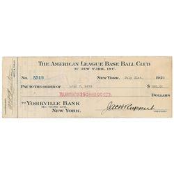 Carl Mays 1922 Signed Payroll Check