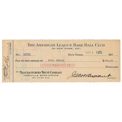 Fred Merkle 1925 Signed Payroll Check