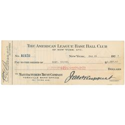 Bob Meusel 1927 Signed Payroll Check