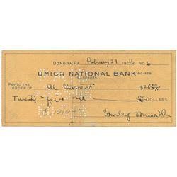 Stan Musial 1946 Signed Bank Check (MVP Season)