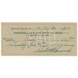 Herb Pennock 1942 Signed Bank Check